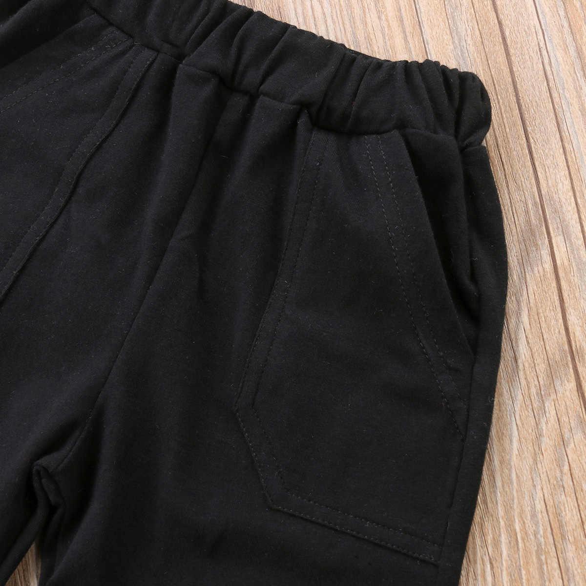 2018 מותג חדש לפעוטות ילד קיד Baby Boy Shortsleeve חולצות טריקו ארוך מכנסיים 2 יחידות תלבושות קיץ סט בגדי מכתב 1-6 T
