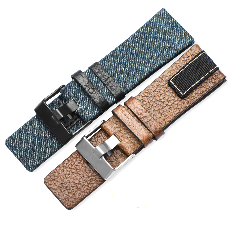 Genuine Leather Watchbands For Diesel DZ4345 STRONGHOLD Men Watches Straps 26mm Denim Canvas Women Watch Band Top Quality Belt canvas men s watchband for diesel watches 26mm silver buckle watch strap for male casual canvas watch band watchstrap for diesel