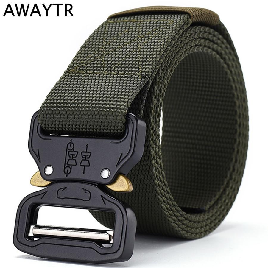 115*3.8 Cm Di Nylon Tattico Cintura Esercito Militare Gear Uomini Donne Cintura Dei Jeans Fibbia In Metallo Cinghia Di Vita Di Caccia Esterna Accessori Ampia Fornitura E Consegna Rapida