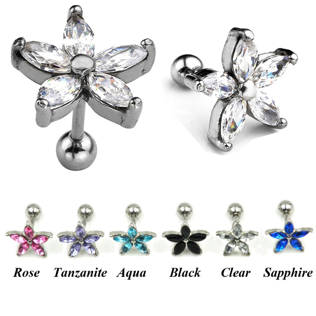 1pc Surgical Steel G Set Zircon Flower Ear Helix Tragus Cartilage Studs Piercing Earring Jewelry 16g