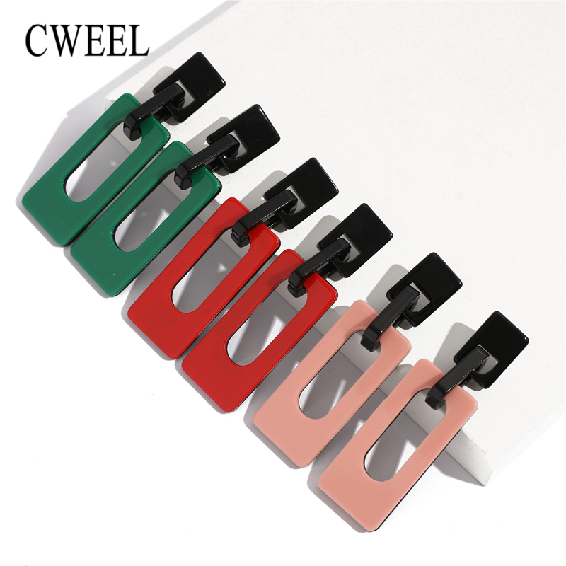 CWEEL Fashion Geometric Acrylic Drop Earrings For Women Vintage Punk Big Brincos Statement Ethnic Earings Fashion Jewelry