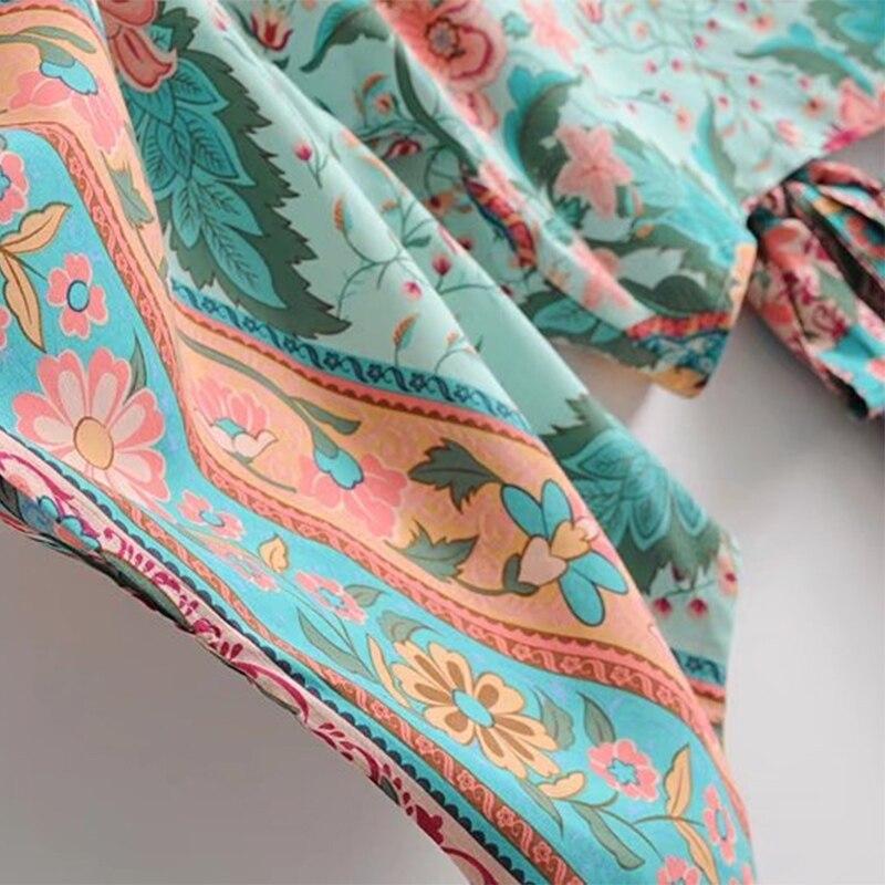 Boho Chic Summer Short Tops Vintage Peacock Floral Print Kimono Women 2019 Fashion Batwing Sleeve Beach Shirt Blouse Blusa Mujer