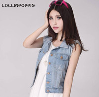 Women Light Blue Denim Vest New 2016 Ladies Sleeveless Jean Jackets Scartched Distressed Style Free Shipping