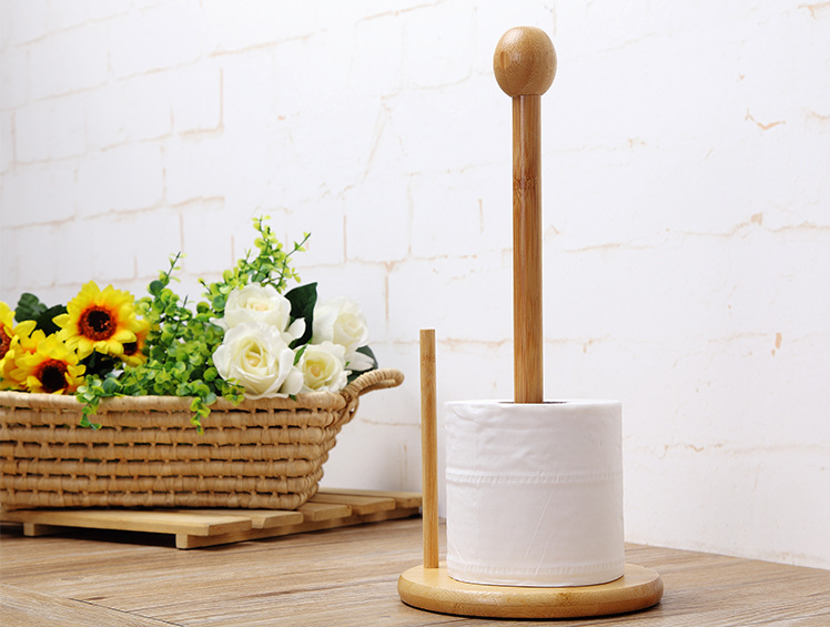 Desktop Table Standing Bamboo Paper Towel Holder Kitchen Tissue Roll Rack Shelf Toilet Home Hotel Bathroom Stands Organizer
