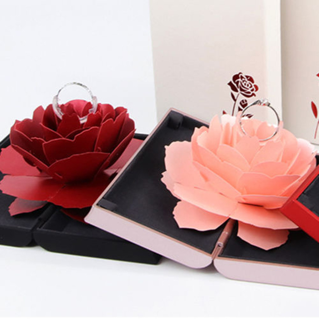 Engagement Ring Box Sale: Aliexpress.com : Buy 3D Pop Up Rose Ring Box Wedding