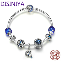DISINIYA Authentic 925 Sterling Silver Sparkling Star and Moon Blue Enamel Bracelets & Bangles for Women Silver Jewelry SCB801