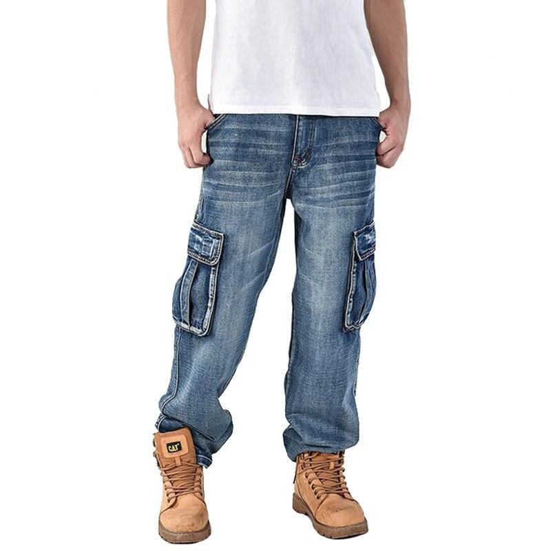 Plus Size 30-46 Fashion Men's Baggy Hip Hop Jeans Pants Multi Pockets Skateboard Cargo Jeans For Men Tactical Denim Joggers 40 4