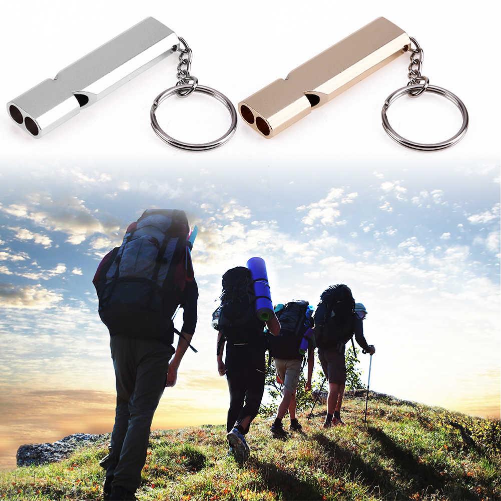 ミニポータブル 150db 二重管高デシベル屋外キャンプハイキングサバイバルホイッスルマルチツール緊急ホイッスルキーホルダー