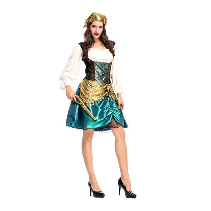 f97079c9a Halloween Costume for Women Sexy Caribbean Captain Pirate Costumes Adult  Female Warrior Fancy Dress Cosplay Carnival