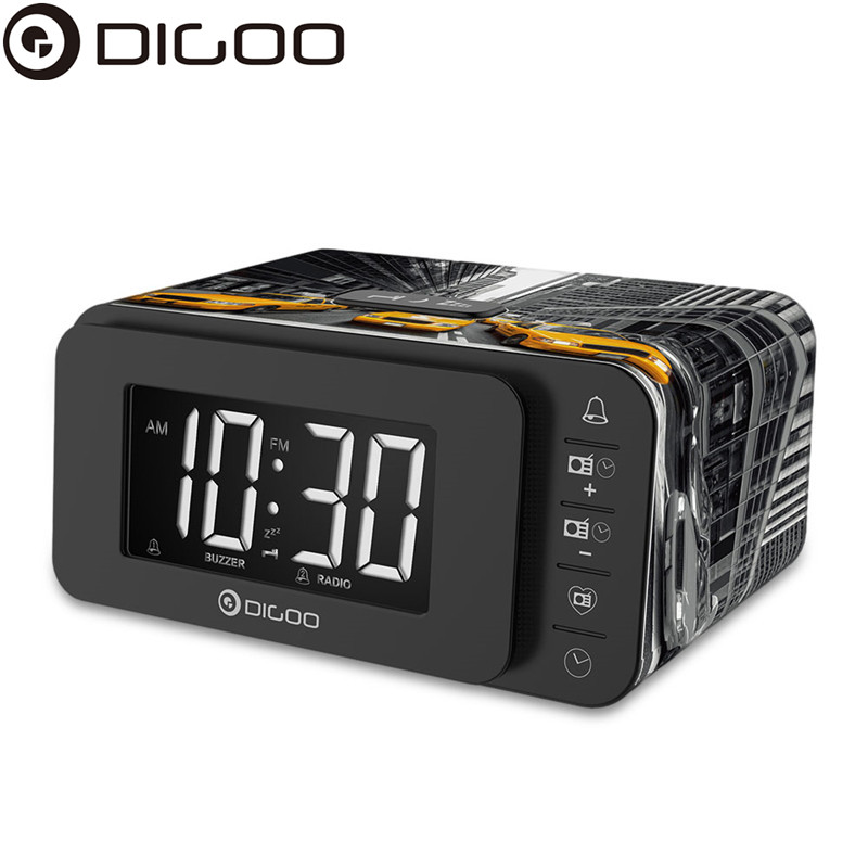 Digoo DG-FR8888 Multi-function Smart Botton Digital Alarm Clock with FM Radio Speaker Memory Function Dual Daily Alarms radio with am and fm dual channel led clock multiple alarm clocks snooze function gift radio