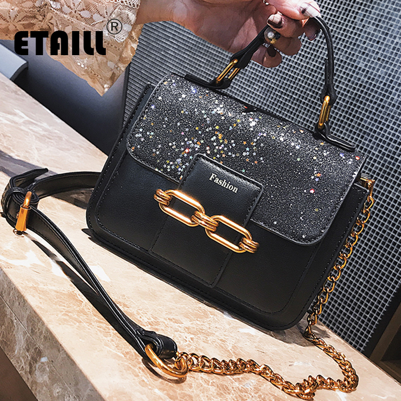 ETAILL Top Handle Sequins Bags For Women Shoulder Bag Small Golden Chain Messenger Bag Ladies Black Famous Brand Day Clutches black sequins embellished open back lace up top