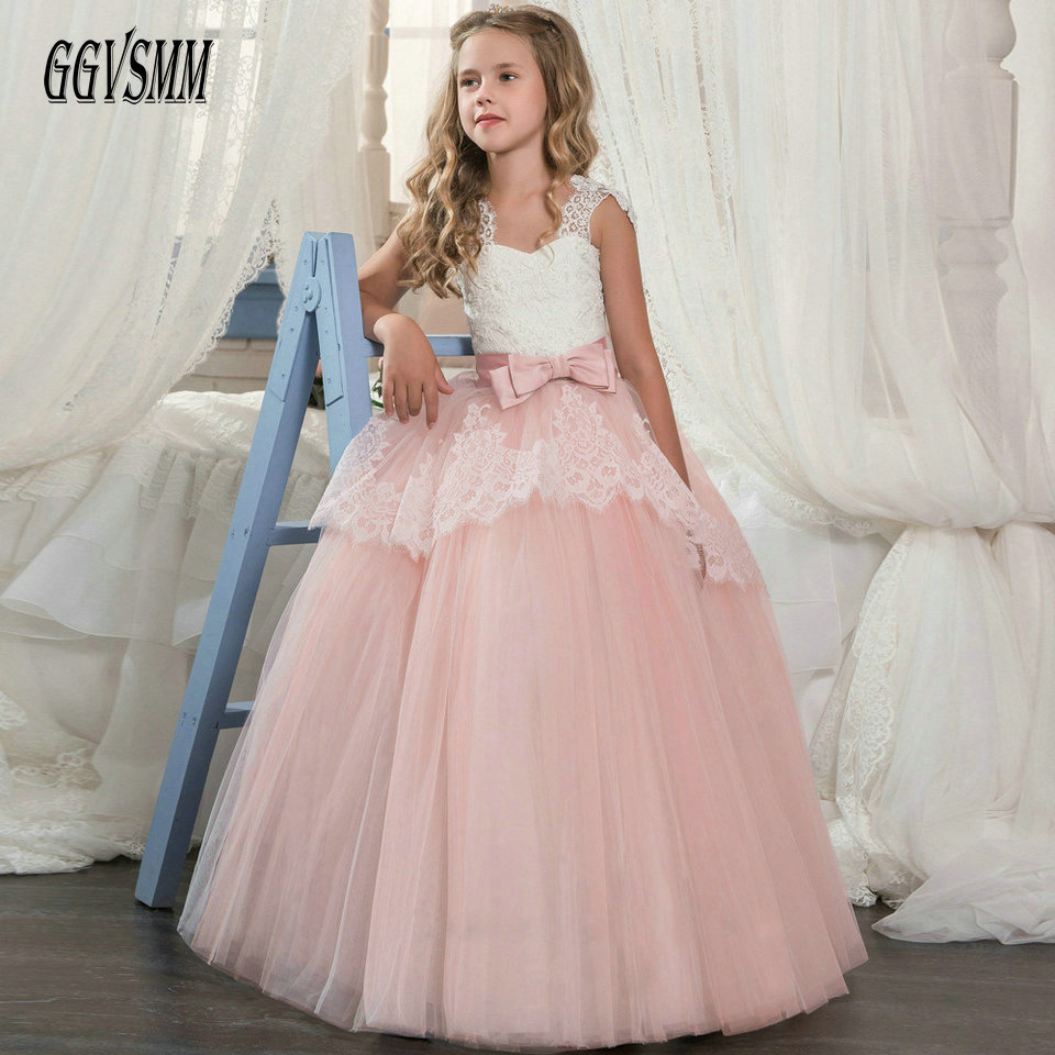 Fashion Pink   Flower     Girl     Dress   2018 Evening Party Gown Long Sweetheart Tulle Lace Appliques Zipper Cheap First Communion   Dresses