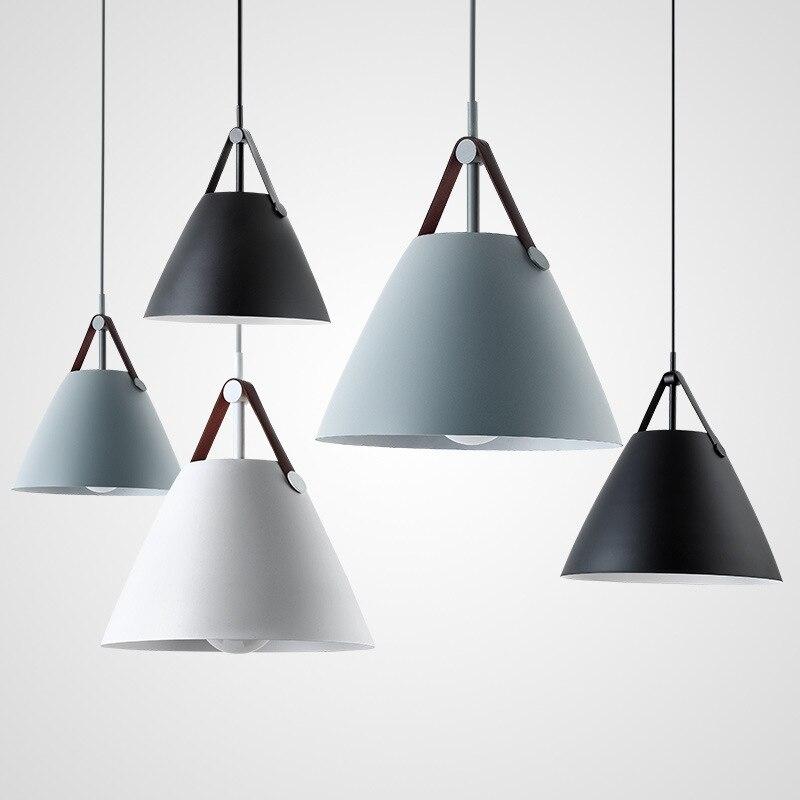 Nordique moderne unique tête couleur ceinture fer pendentif LED lumières lampe de cuisine Vintage accrocher éclairage pour Bar café étude salle à manger
