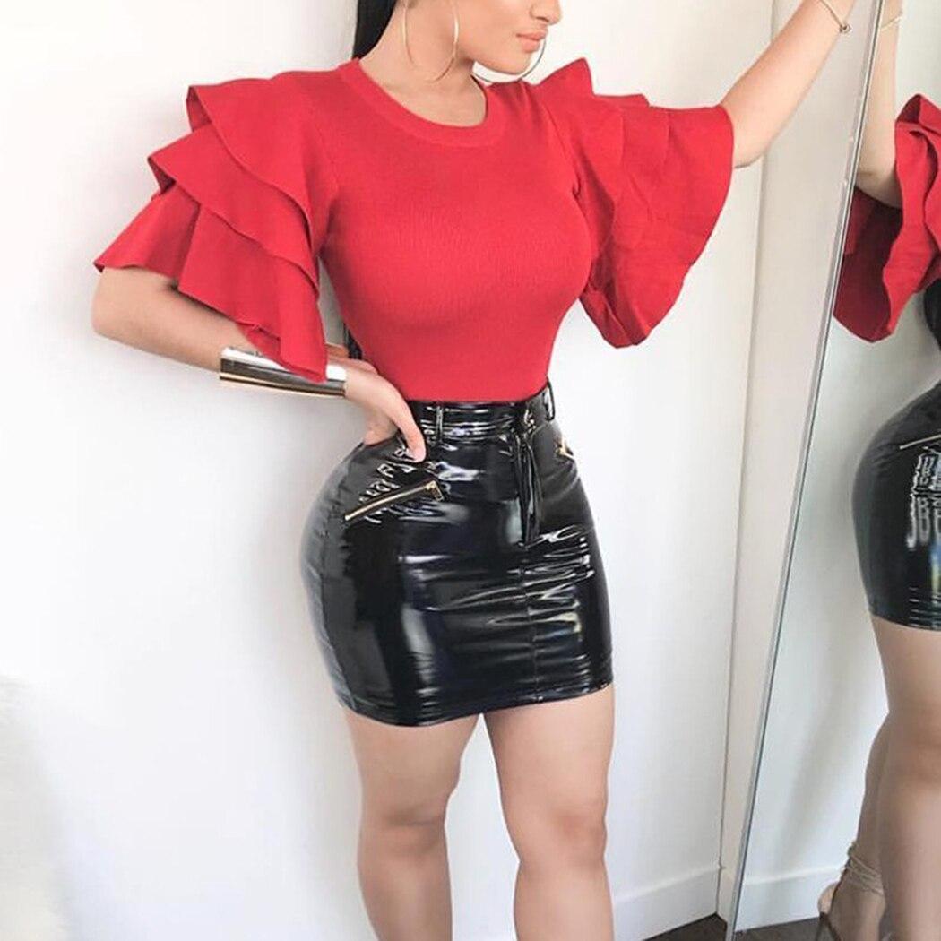 Para Manga Mujeres Ruffle red Verano Wine Oficina Blusa Elegante Tops Las Formal Señoras Moda Blusas De Pink Camisas xwFIxYdBq