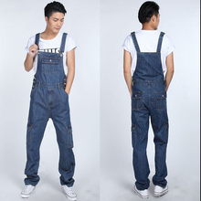 S-5XL 2015 Men's fashion pocket denim overalls for boys Male casual loose jumpsuits Plus large size jeans Bib pants