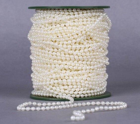White Pearl Beads Strand Garland Acrylic Wedding Pearl: 2Yards 3mm Pearl Beads Garland String White/ivory Acrylic