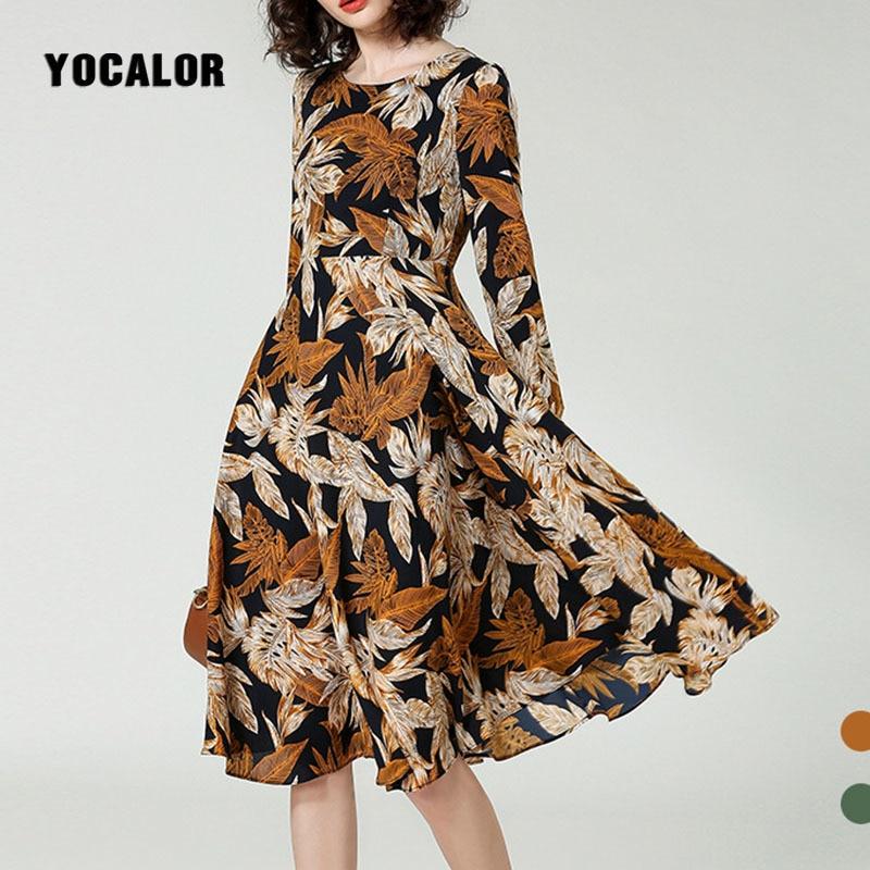 YOCALOR A-Line Long Sleeve Top Quality Luxury Real Silk Dress Women Floral Print Spring Summer Bohemian Lady Runway Beach Casual bohemian floral flounce long swing beach dress