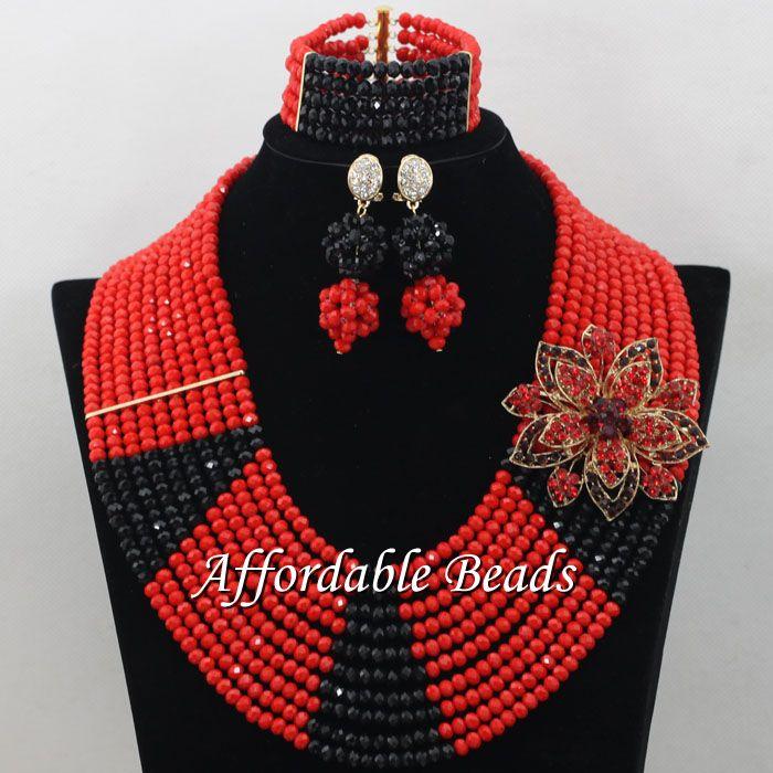 Vintage nigérian mariage perles ensemble de luxe déclaration collier boucles d'oreilles Bracelets perles africaines bijoux ensemble pour les femmes G002