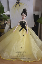 Autonomous design handmade manual Gifts For Girls Yellow possible yarn Slim Evening Suit Wedding Dress  For BB 1:6 Doll BBI00202