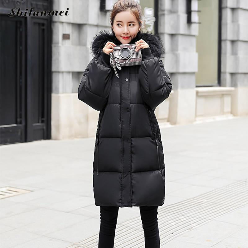 Woman Warm Mid-Long Black   Down     Coat   Artificial Fur Collar Plus Size 3xl 2018 Winter Female Fashion Streetwear Overcoat
