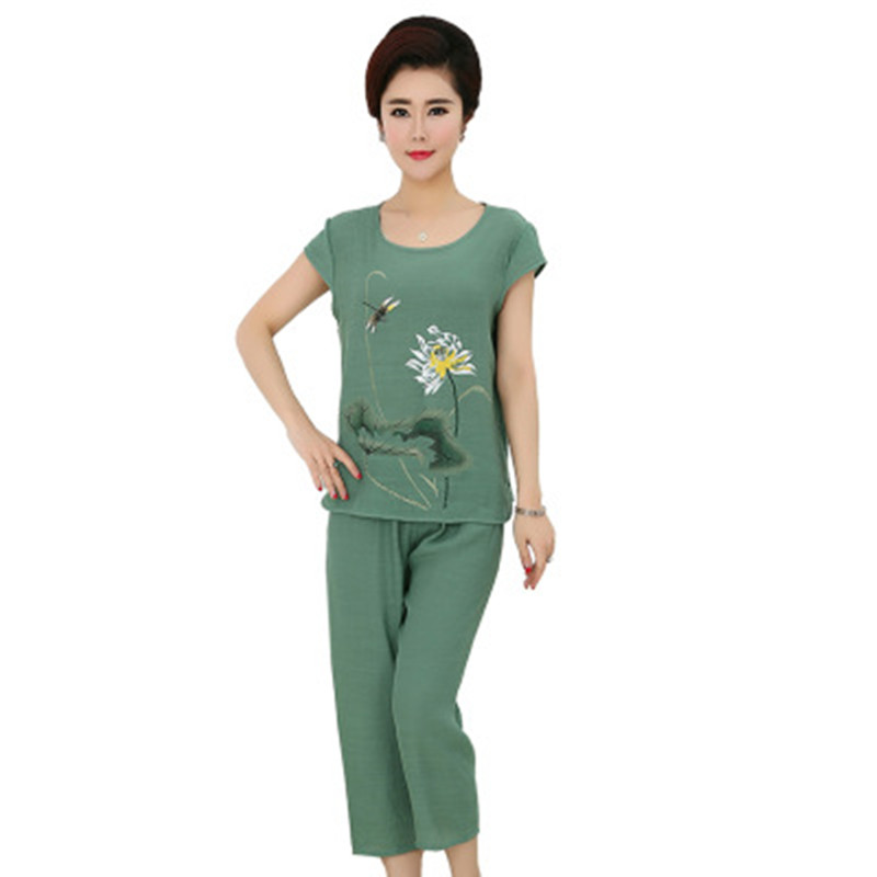 Pajamas Set Women Summer Mom Sexy Flower Embroidery Pyjama Short Sleeve Shorts 2Piece/Set Ventilation Home Linen Sleepwear