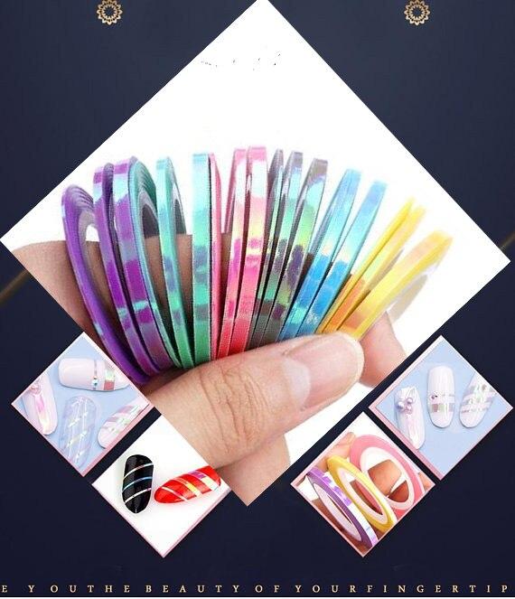 2018 Novo Estilo Da Sereia Striping Linha Tape Etiqueta Decalques Da Arte Do Prego DIY Suprimentos-6 Cores Disponíveis [3 Rolos /tamanho do lote 1mm 2mm 3mm]