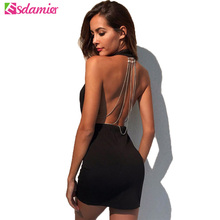 ФОТО black red deep v neck backless dress sexy womens night party club dresses back chains hanging bodycon bandage dress clubwear