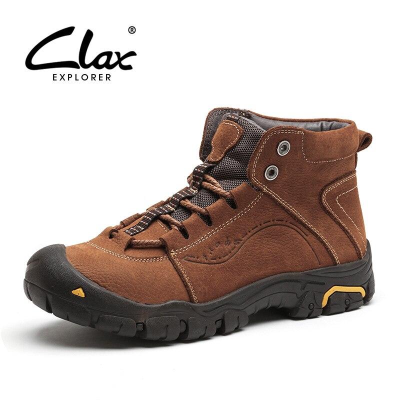 CLAX hommes bottes d'hiver en peluche fourrure chaude en cuir chaussures mâle en plein air chaussure de marche chaussure de neige travail botte décontracté chaussures chaussure homme