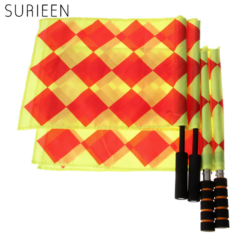 SURIEEN 2ps/Pair Soccer Linesmen Flags Football Fluorescent Color Soccer Referee Flag With Coin Fair Play Sports Match Equipment
