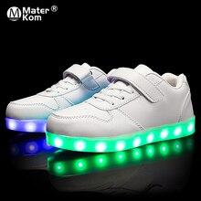 サイズ25 37子供led靴グローイングスニーカー子供krasovkiとバックライトusbライトアップシューズ靴発光のためのスニーカー男の子女の子