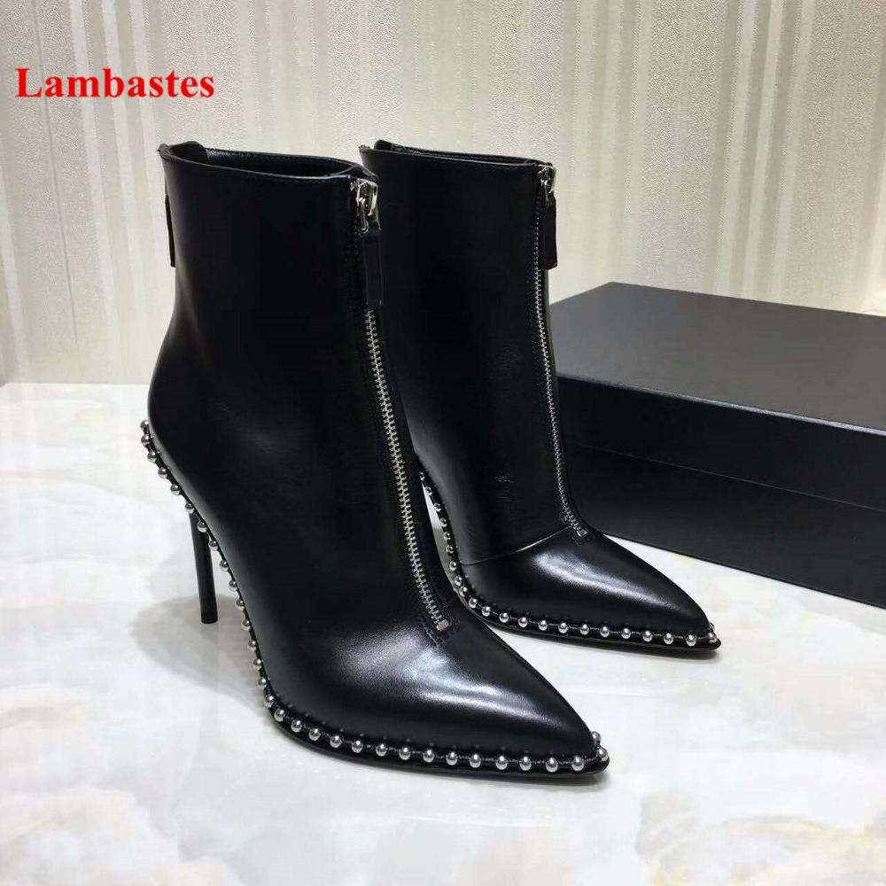 2018 Brand Shoes Women Winter Boots Black Rivets Embellished Zip Up Women Ankle Boots Leather Pointed Toe Thin Heel Botas Femme