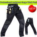 Высокое качество Полиэстер мужская одежда износостойкость мульти-карманы грузовые брюки черные рабочие брюки мужчины