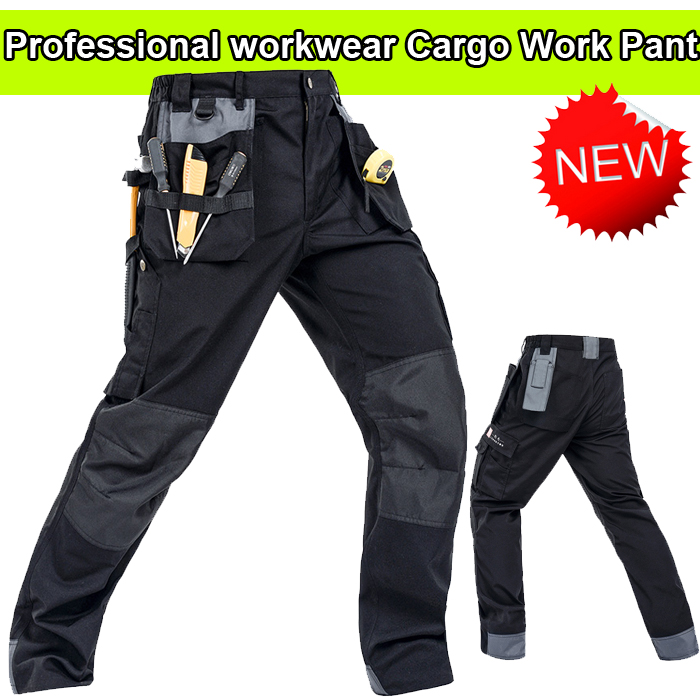 Bauskydd High quality Polycotton men's workwear wear-resistance multi-pockets cargo trousers black work pants men floral print multi pockets zipper fly cargo shorts