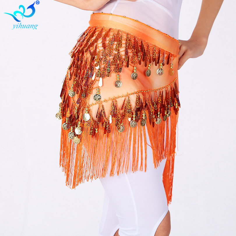 Venta caliente egipcia Bellydance Hip Scarf para mujeres Disfraces de Halloween Hip Skirt Festival Wrap Belt con lentejuelas Tassel Dance Party
