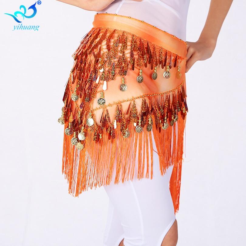 Hot výprodej Egyptský Bellydance Hip Šátek pro ženy Halloween kostýmy Hip Sukně Festival zábal pás s Sequin Tassel Dance Party