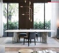 75 см высокий мраморный обеденный стол с металлическими ножками/200x100 см мраморный стол/8 стульев в комплекте