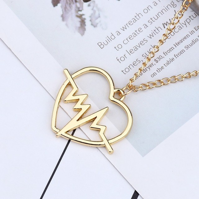 Classic ECG Hollow Out Heart Shaped Pendant Necklace For Women Girls Heartbeat Gold Clavicle Chain Necklaces Jewelry Gifts 2019