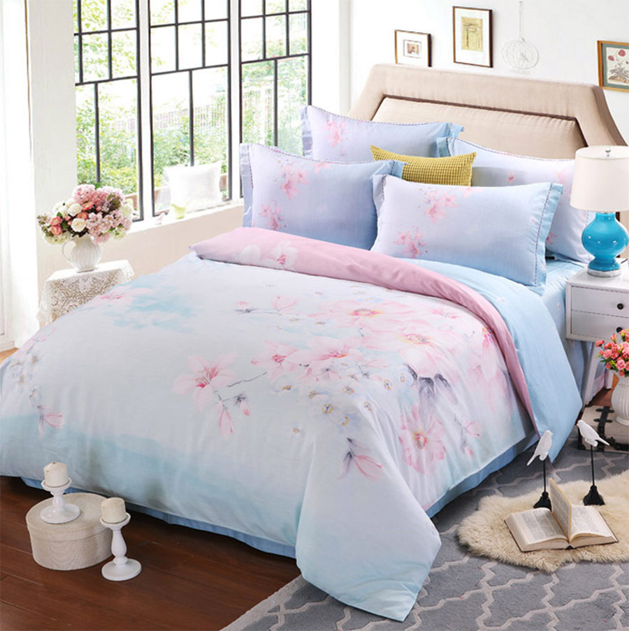 Blue bedroom sets for girls - Pink Blue Flower Bedding Sets Adult Teenage Girl Full Queen King Floral Double Home Textile Bed Sheet Pillow Cases Duvet Cover