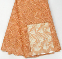orange african lace fabric 2018 high quality lace aso ebi mesh fabric Embroidered Beaded nigerian swiss lace fabric