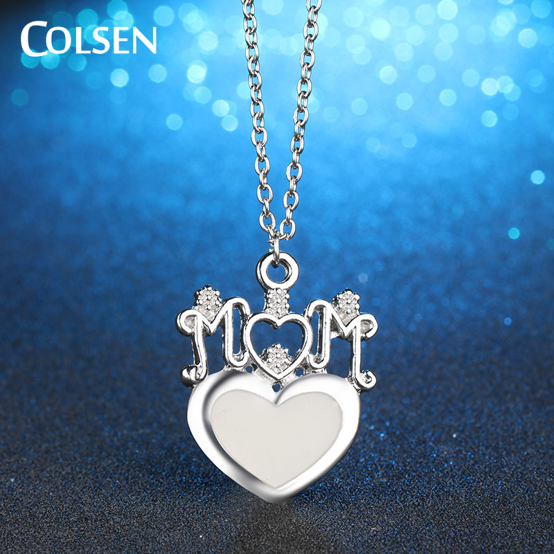 Colsen womens fashion heart shaped necklace letter mum pendants colsen womens fashion heart shaped necklace letter mum pendants give mothers holiday gift woman girl jewelry luminous collier in chain necklaces from mozeypictures Image collections
