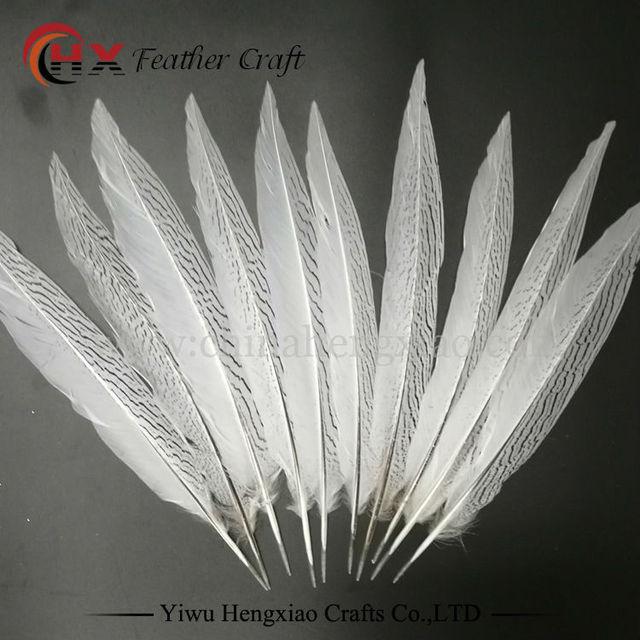 plumes de faisan naturel plumes blanches 10 pi ces lot pas cher taches longues d coratifs plumes. Black Bedroom Furniture Sets. Home Design Ideas