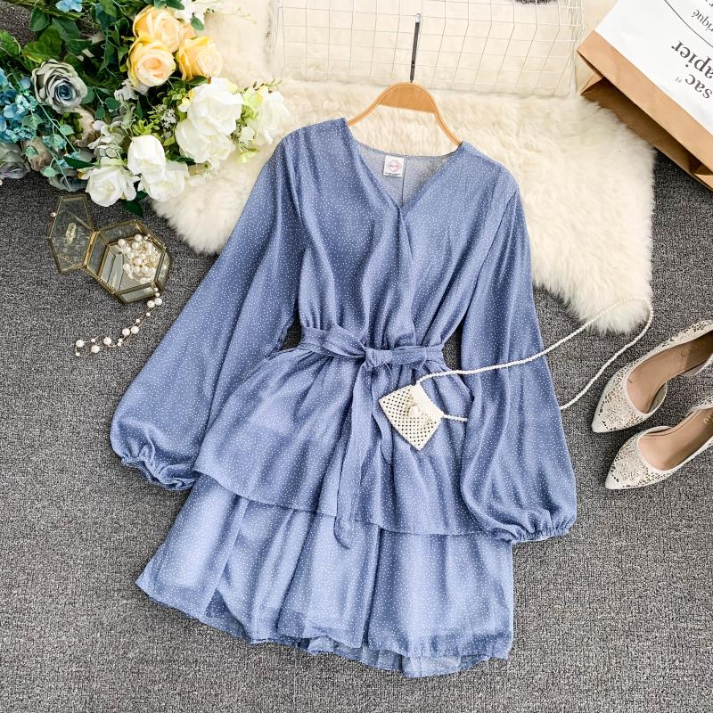 Korean Summer 2019 Sweet Women Dress Elegant V Neck Puff Sleeve Dot Print Dress Cascading Ruffle A Line Female Dress Vestido 47