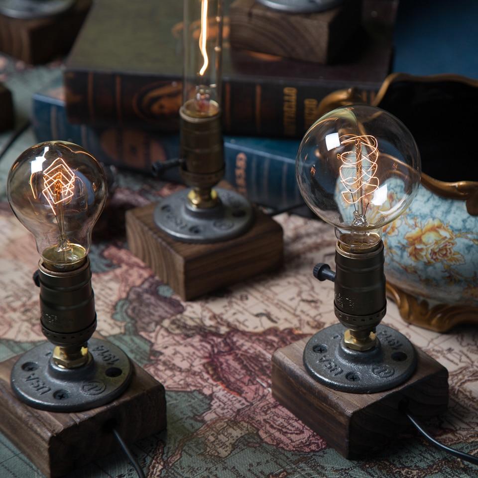 Vintage Edison Bulb Table Lamp: 2PACK Loft Vintage E27 Edison Bulb Table Lamp,Wood Base