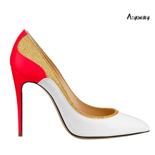 Aiyoway Elegant Women Lady Pointed Toe High Heel Pumps Patchwork Glitter Autumn Spring Party Dress Shoes Slip On Big Size 5~17 недорого