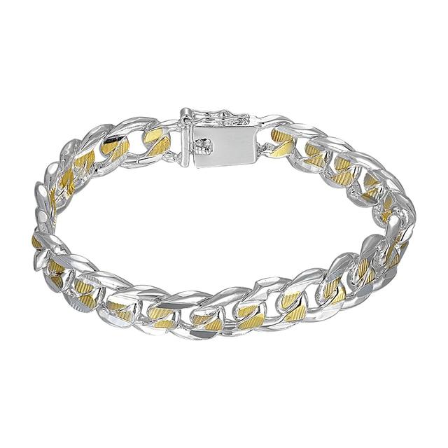 H091 925 sterling silver bracelet 2017 gold bracelet for women men's jewelry 10mm Cool curb bracelet chain bracelets & bangles