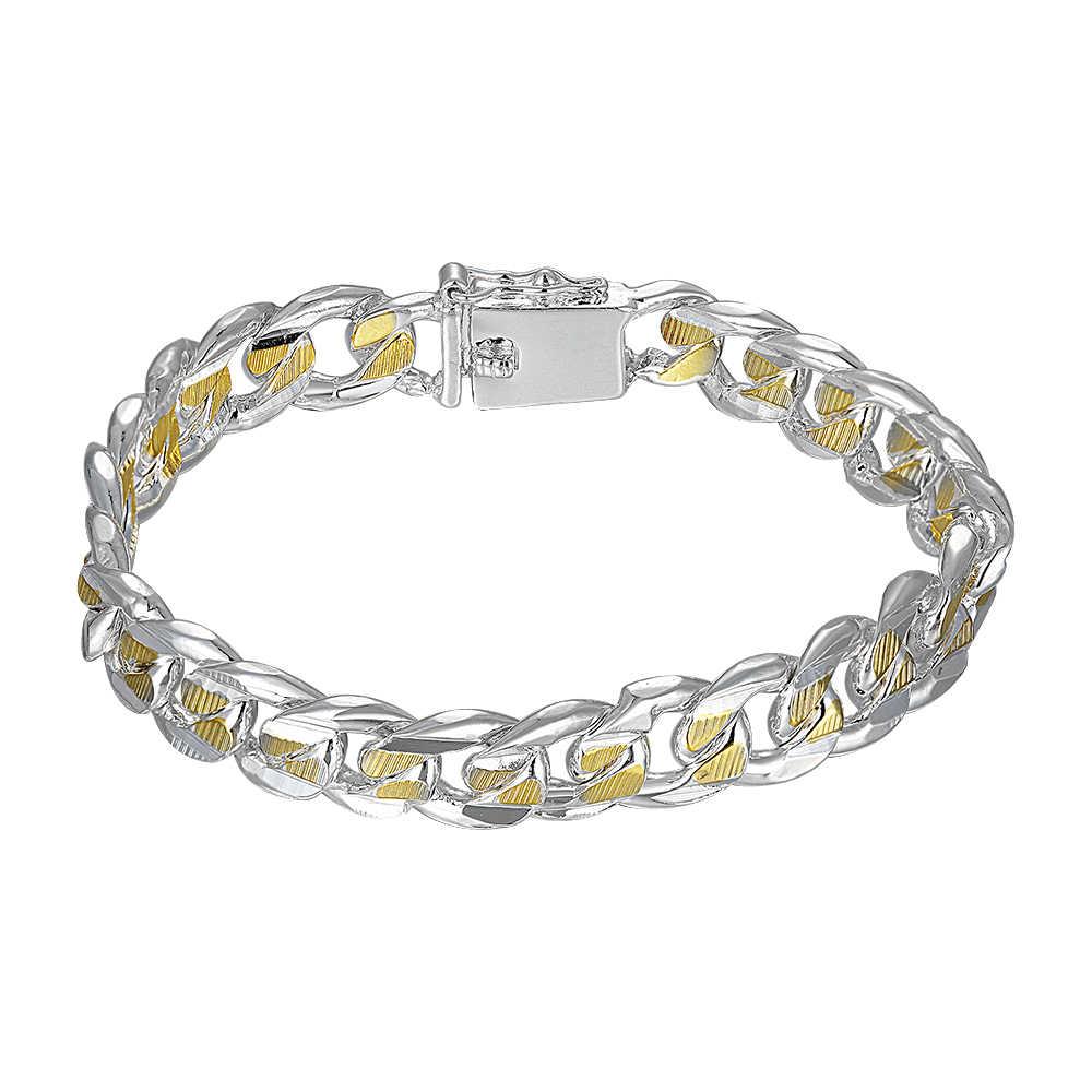 34ad9f255 H091 925 sterling silver bracelet 2019 gold bracelet for women men's  jewelry 10mm Cool curb bracelet