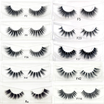 1pair 10 styles 3D Mink lashes Plastic Black Terrier Natural Long Thick false eyelashes Hand Made with clear band makeup tools