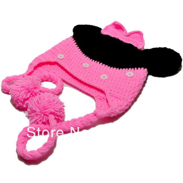 Free Shipping Mickey Mouse Handmade Knit Crochet Animal Baby Hats