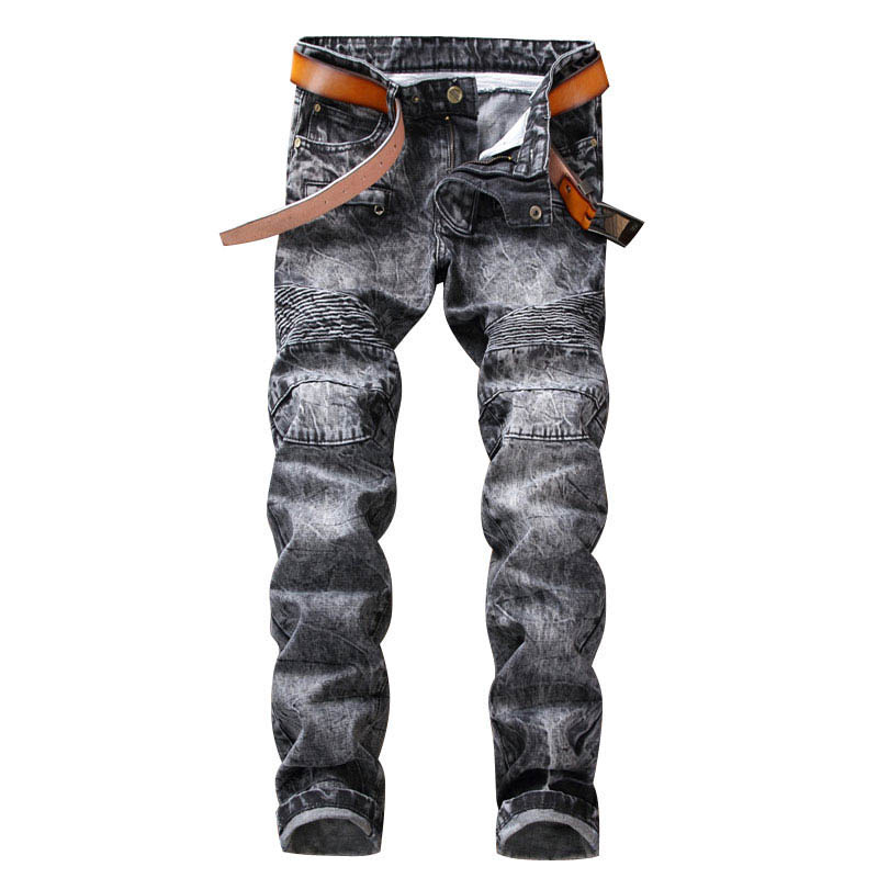 Pleated Gray color Jeans Slim Fit for Men Straight Snow Wash Fashion Trend