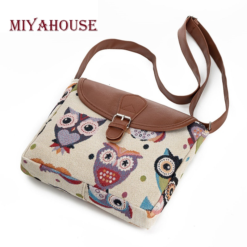 Miyahouse Casual Cartoon Owl Printed Messenger Bag Women Canvas Design Owl Shoulder Crossbody Bag Female Small Lady Flap Bag